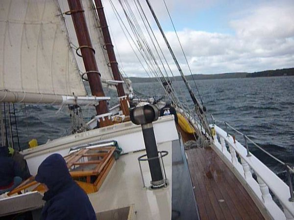 Heeling to port in the wind. Photo by Jim Newton