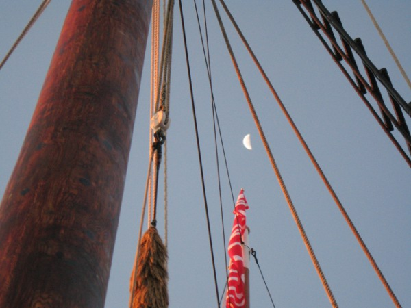 The moon through the rigging