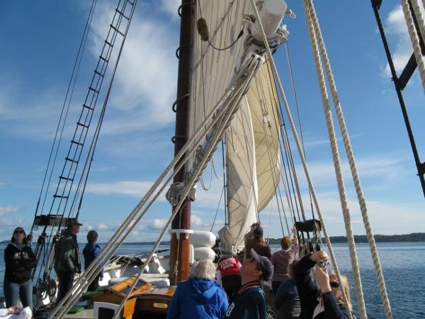 The crew unfurls the staysails