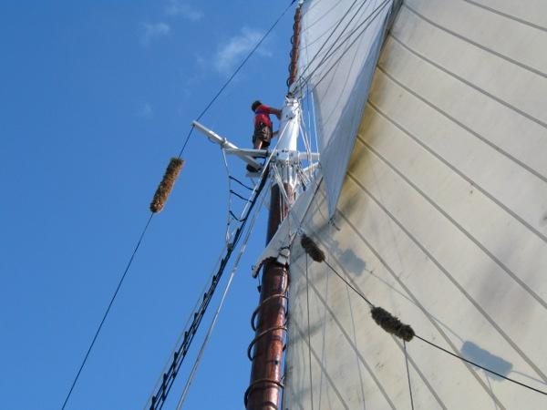 Matt unfurls the topsail