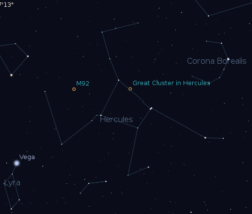 The constellation Hercules and his neighbors.