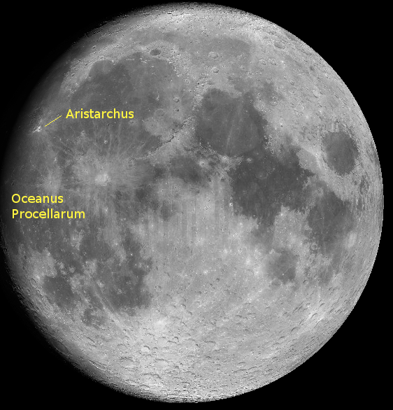 The moon with Aristarchus.  Created with Virtual Moon Atlas.