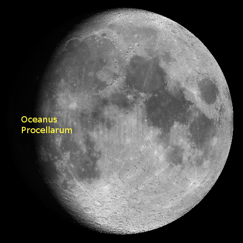 The moon's Oceanus Procellarum.  Image from the Virtual Moon Atlas.