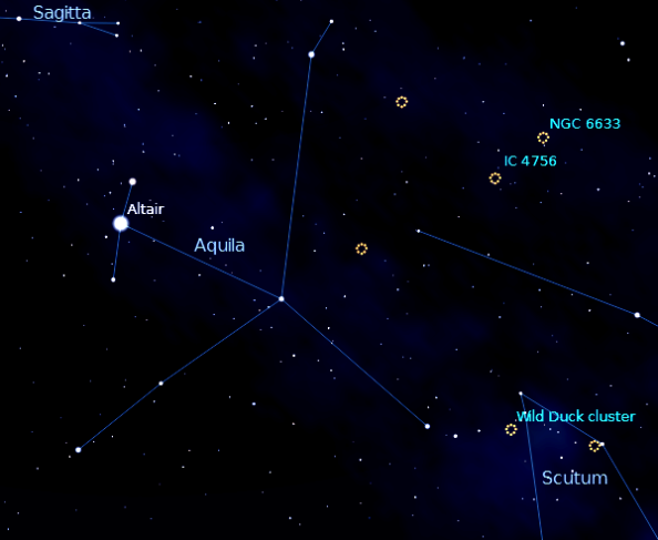 Finder chart for M11, the Wild Duck Cluster, Created using Stellarium.