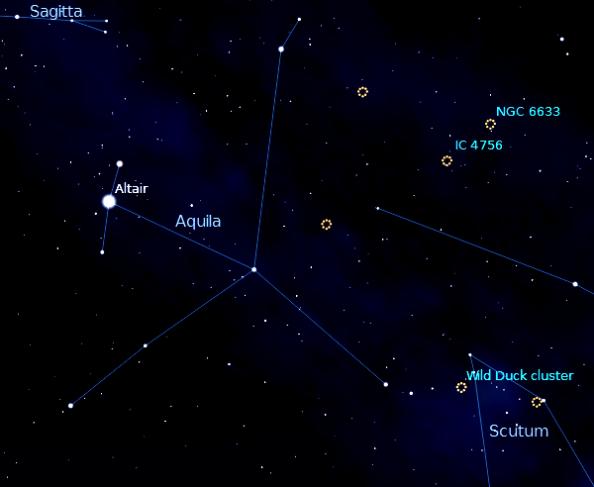 Finder chart for M11, the Wild Duck Cluster, Created using Stellarium.