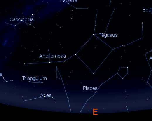 Pegasus at 9 p.m. Chart created using Stellarium.