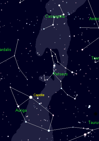 The Constellations Cassiopeia, Perseus and Auriga. Cartes du Ciel