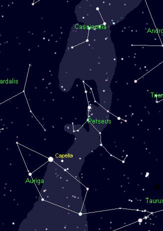 The Constellations Cassiopeia, Perseus and Auriga. Cartes du Ciel