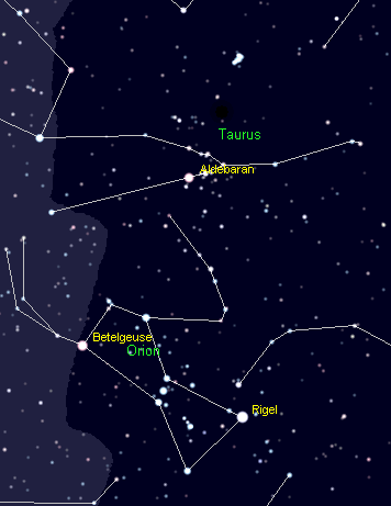 The constellations Taurus and Orion and the Pleiades.  Created using Cartes du Ciel.