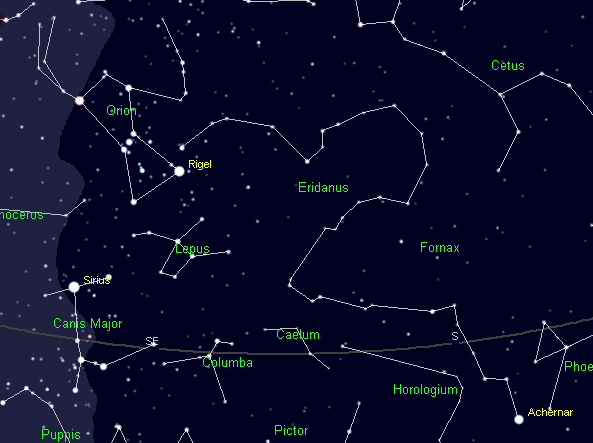 The constellation Eridanus the river, both above and below the horizon. Created using Cartes du Ciel.