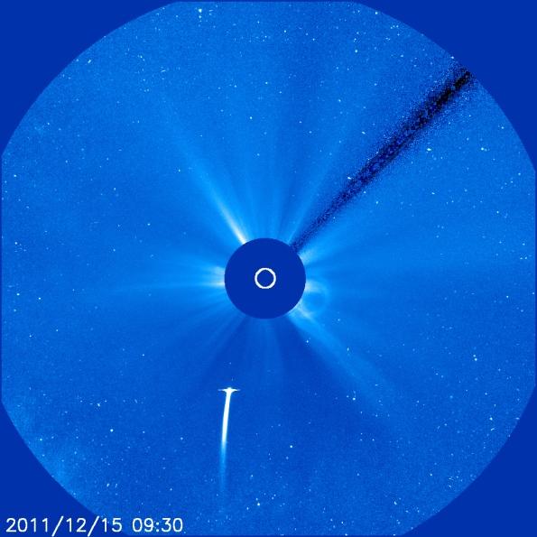 Comet Lovejoy at 9:30 UT or 2:23 a.m. EST. Courtesy of ESA, NASA, LASCO Team.