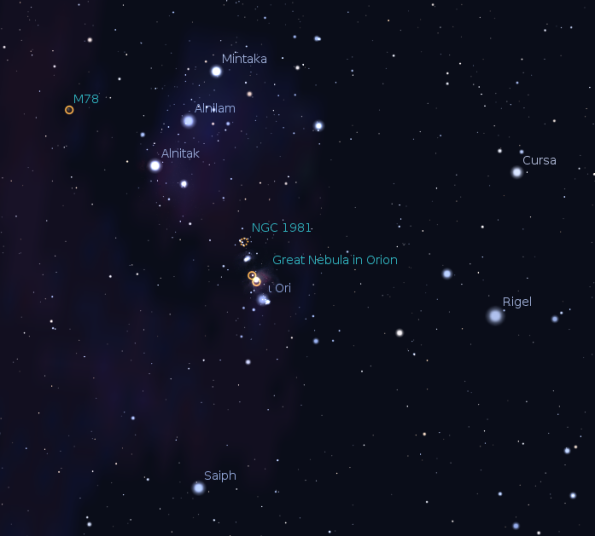 The lower part of Orion with the Great Orion Nebula. Created using Stellarium.
