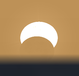May 20, 2012 eclipse from northern Michigan just before sunset. Created using Stellarium.