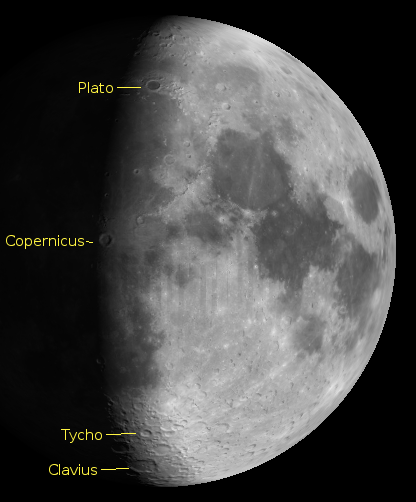 The moon on 5/29/2012 showing large craters on the terminator. Created using Virtual Moon Atlas.