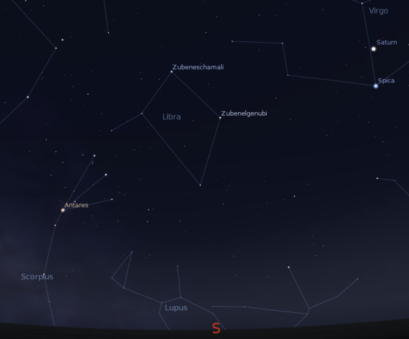The constellation Libra on June 15, 2012 at 11 p.m. Created using Stellarium.