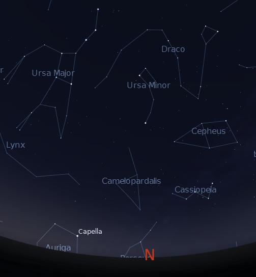 Little Dipper (Ursa Minor) and the Big Dipper (Ursa Major).  Created using Stellarium.