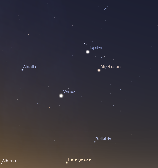 Jupiter and Venus with bright morning stars including those of Orion at 5:30 a.m. on 7/26/2012.  Created using Stellarium.