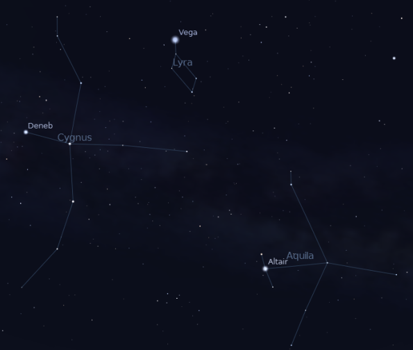 Summer Triangle at 07-12-12 at 11 p.m. Created using Stellarium.