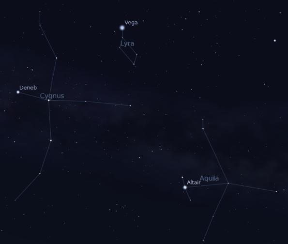 Summer Triangle at 07-12-12 at 11 p.m. Created using Stellarium.