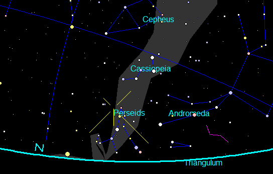 Perseid radiant at 10:30 p.m.
