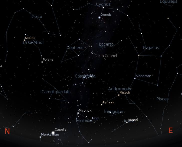 The constellation Cepheus.  Created using Stellarium.