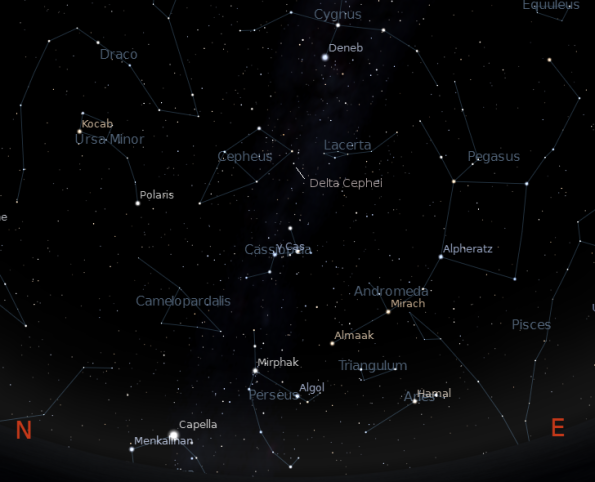 The constellation Cepheus.  Created using Stellarium.
