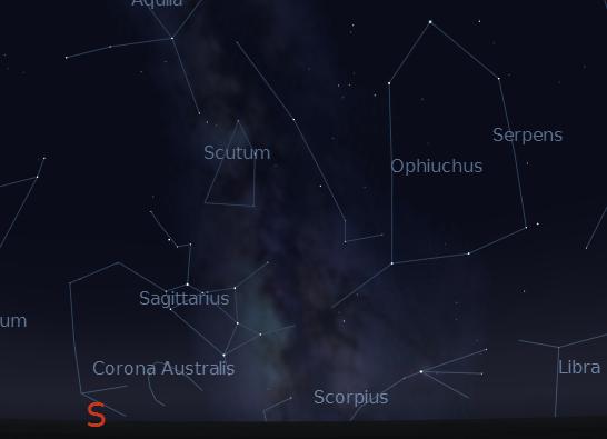 Sagittarius and the Milky Way September 11, 2012.  Created using Stellarium.