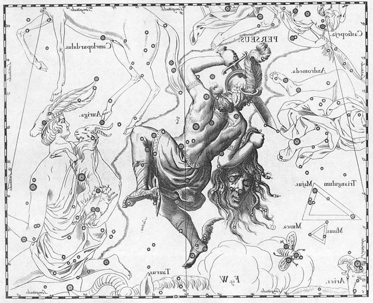 Perseus and the head of Medusa from the 1690 Uranographia by Johannes Hevelius.