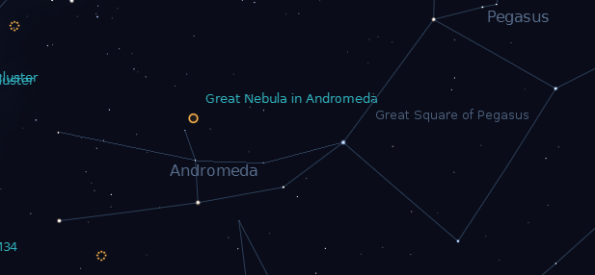 Andromeda at 9 p.m. with the Great Andromeda Galaxy. Created using Stellarium.