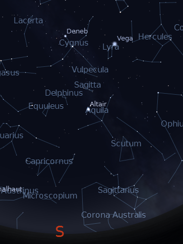 Deneb Overhead.  Created using Stellarium.