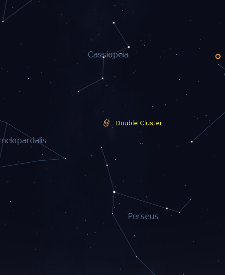 Chart for finding the Double cluster in October.  Created using Stellarium.