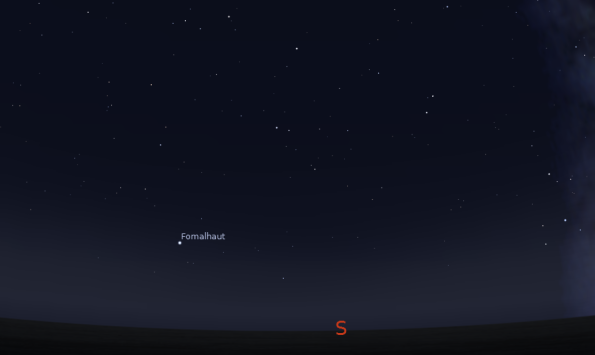 The bright star Fomalhaut all alone at 10 p.m. on October 4, 2012.  Created using Stellarium.