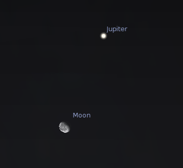 Jupiter and the waning gibbous moon at 11 p.m. October 5, 2012.  Created using Stellarium.