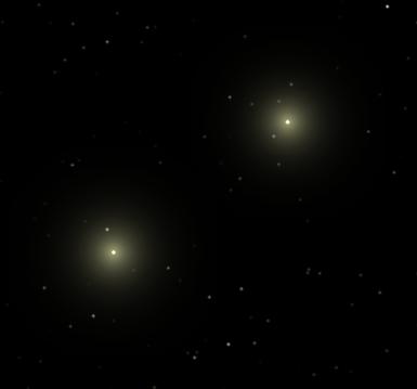 Alpha Centauri A and B.  Created using Celestia.