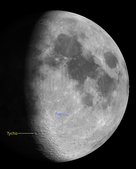 The crater Tycho and one of its rays at 9 p.m. on October 23 2012.  Created using Virtual Moon Atlas.