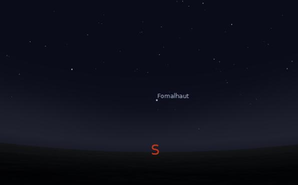 Fomalhaut in the south at 8 p.m. on November 15, 2012. Created using Stellarium.