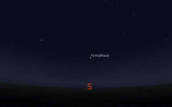 Fomalhaut in the south at 8 p.m. on November 15, 2012. Created using Stellarium.