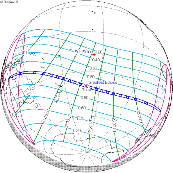 Diagram of the coverage of the November 13-14 total Solar Eclipse.  Courtesy Fred Espanek, NASA.