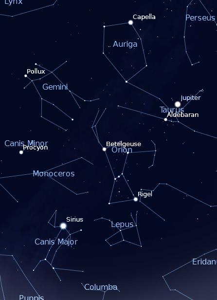 Winter Circle and Jupiter with Sirius