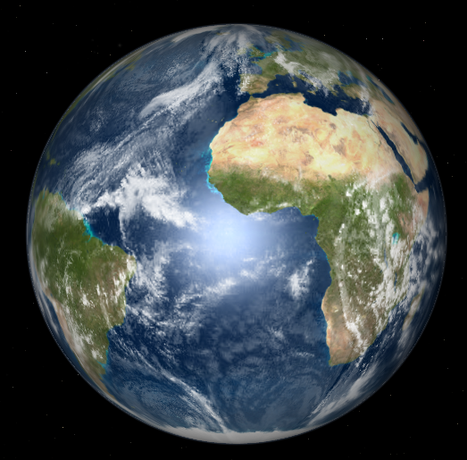 The earth as seen from the sun near the vernal equinox