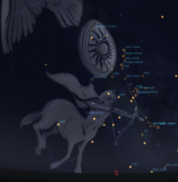 Deep sky objects in Scutum & Sagittarius