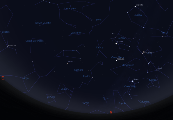 Jupiter and Mars with the winter and spring constellations