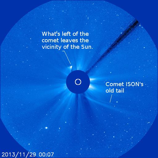 Comet ISON or what's left of it leaving the sun at 7:07 p.m. (EST) November 28, 2013.  Credit NASA/ESA/SOHO LASCO C3.  Annotation:  mine.