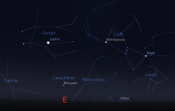 Procyon is already up as Sirius rises.  Procyon also sets after Sirius.  Created using Stellarium.