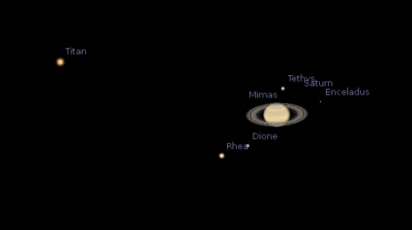saturn and its moons and their positions - photo #48