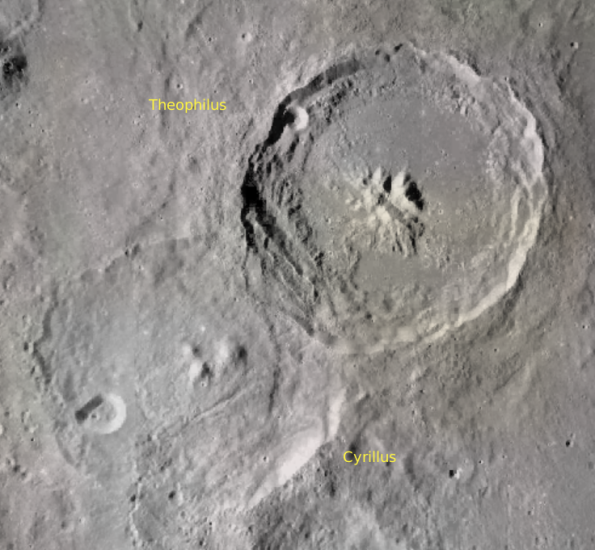 Lunar craters Theophilus and Cyrillus.  Credit:  NASA/LRO mapped on Virtual Moon Atlas.