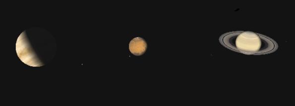 Venus, Mars, Saturn