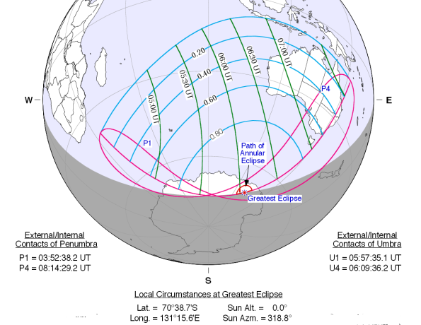 Path of the 4-29-14 annular eclipse