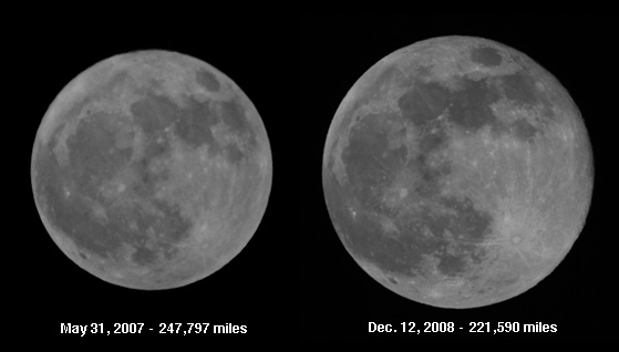 A supoermoon compared to a micromoon.  Credit: Michael Myers.