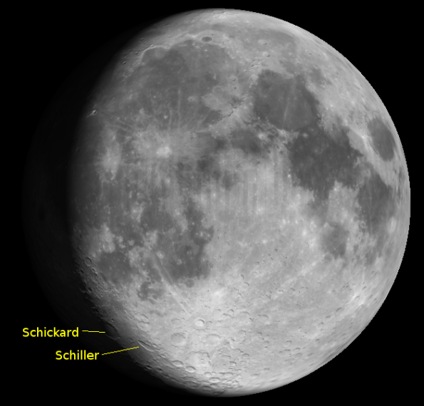 The lunar craters Schickard and Schiller on the lunar terminator at 10 p..m., August 7, 2014.  Created using Virtual Moon Atlas.